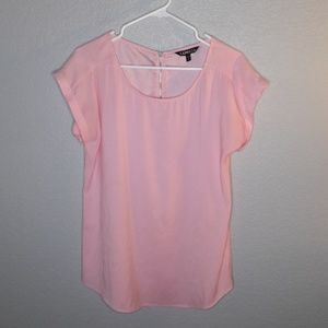 Express Bubblegum Pink Silky Shortsleeve Zip Top